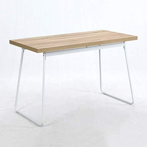 B&D home - Kleiner esstisch Holz metallgestell | weisser esszimmertisch wildeiche | bistrotisch eckig | PC Schreibtisch klein Holz | Kleiner holztisch esszimmer | 120 x 60 cm