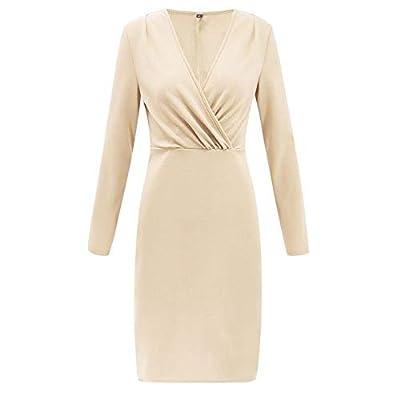 Muranba Womens Dresses Deep V Wrap Ruched Long Sleeve Nightclub Mini Dress