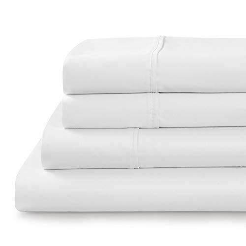 Tranquil Nights - 500 Thread Count 100% Cotton Bed Sheet Set, 4-Piece White King Size Sheets, Soft & Silky Sateen Weave Luxury Bedding, Deep Pocket Sheets to Fit Upto 17' Mattress