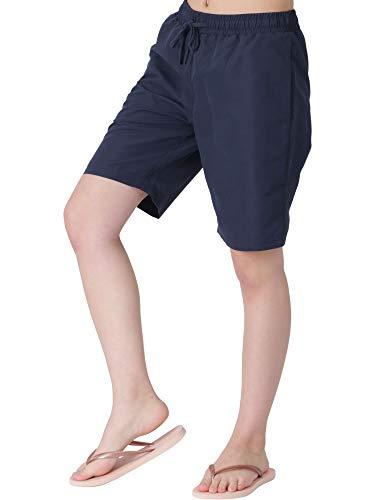 ICEPARDAL(アイスパーダル) サーフパンツ レディース 水着 ロング丈 全20色柄 IR-7600 コン W XL (2L)サイズ ボードショーツ 水陸両用 体型カバー ランニング ウェア 紺色 ネイビー