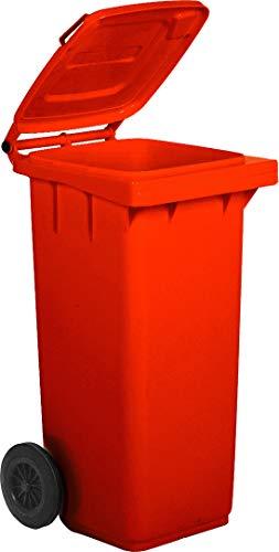 Bidone carrellato per la raccolta differenziata rifiuti Mobil Plastic 120 Lt per uso esterno - rosso (UNI EN 840)