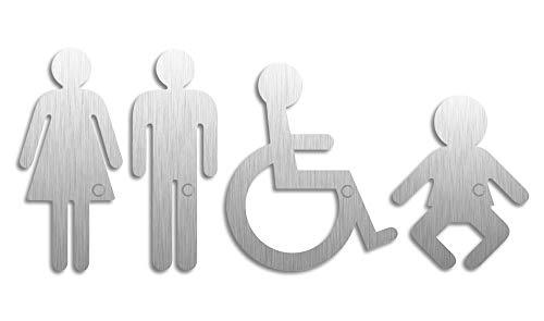 Edelstahl-Piktogramme Frau Mann Rollstuhl Baby H=120/117/100 mm 4er-Set selbstklebend Ofform Design Nr.1110