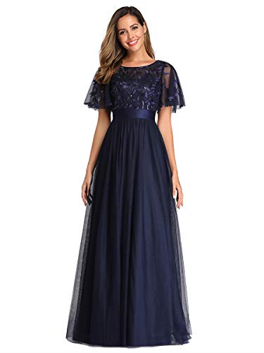 Ever-Pretty A-línea Cuello Redondo Vestido de Noche Encaje Manga Corta Largo para Mujer Azul Marino 46