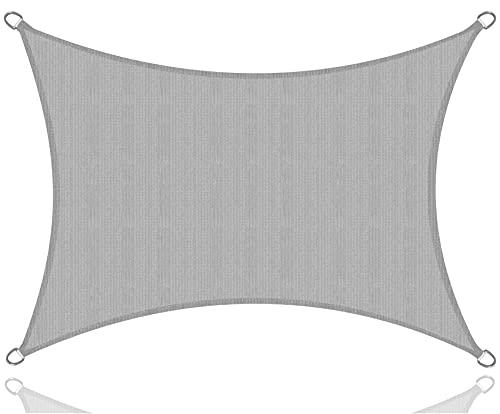 Toldo 3x4 m - gris - para protección solar / lona protectora con ojales para tensar