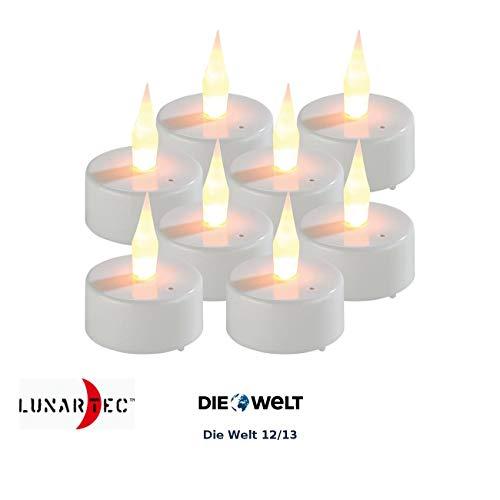 Lunartec Kerze: 8er-Set LED-Teelichter mit Luftzugsensor und beweglicher Flamme (LED-Kerzen-Teelichter)