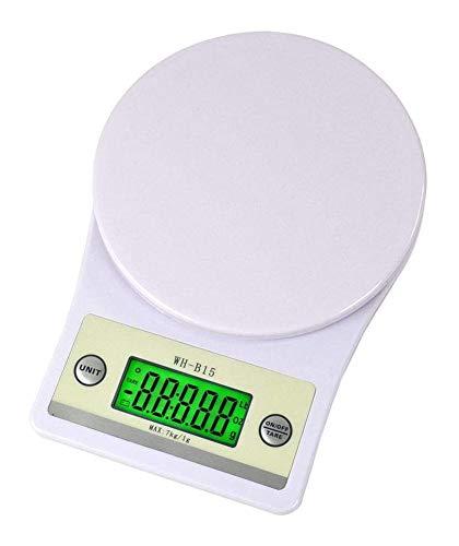 WANG XIN Balanza de Cocina/Escalas 7kg 1g Digital de Gran precisión de Comida con función de LCD retroiluminado Tara portátiles balanzas electrónicas Blanco, sin batería