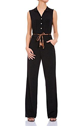 Laeticia Dreams Damen Overall Jumpsuit mit Gürtel S M L XL, Farbe:Schwarz;Größe:38