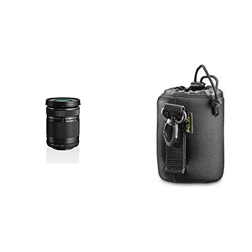 Olympus M.Zuiko Digital ED 40-150mm F4‑5.6 Objektiv, Telezoom, geeignet für alle MFT-Kameras (Olympus OM-D & Pen Modelle, Panasonic G-Serie), schwarz & Walimex Objektivbeutel Neopren Größe S, 7x10cm