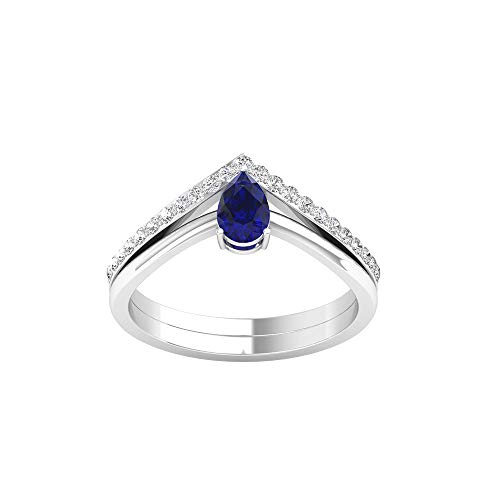 Anillo solitario de zafiro azul con forma de pera de 0,5 quilates, anillo de corona de diamante certificado SGL de 0,20 quilates, anillo de oro de diamantes de claridad de color IJ-SI