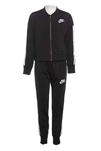 Nike Mädchen G NSW TRK Suit Tricot Tracksuit, Black/(White), L
