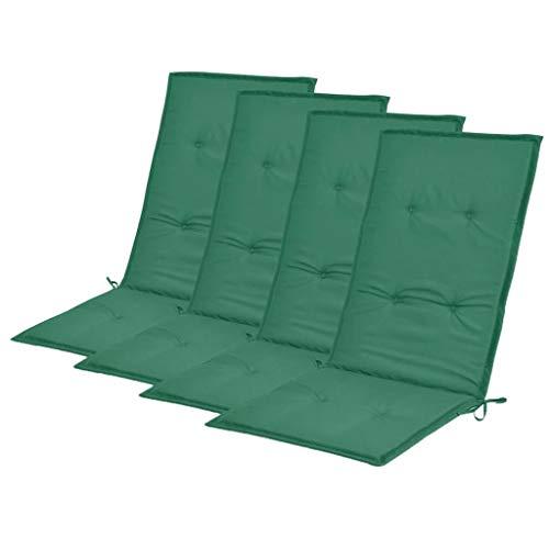 vidaXL 4X Coussins de Chaise de Jardin Coussins de Chaise à Dossier Haut de Patio Extérieur Arrière-Cour Terrasse Imperméable Vert