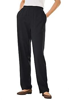 Woman Within Women s Plus Size 7-Day Knit Straight Leg Pant - 1X Black