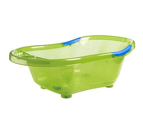 dBb-Remond 306009 - Vaschetta per il bagnetto con tappo e impugnature, colore: Verde trasparente con impugnature gialle