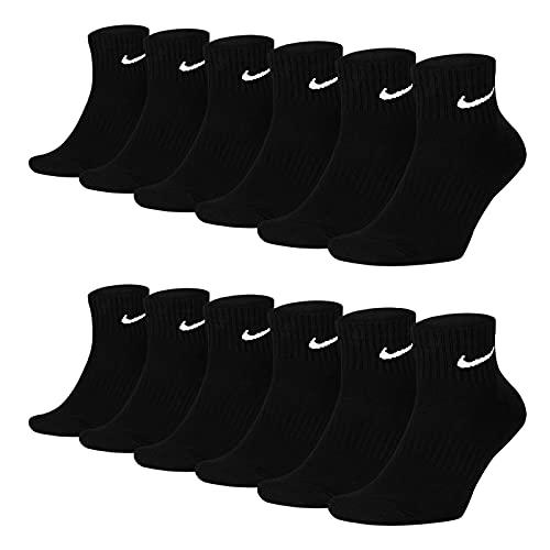 Nike Socken Damen Herren Weiß Schwarz Kurz Sportsocken Größe 34 36 38 40 42 44 46 48 50 Sparset SX7677, Sockengröße:42-46, Sockenfarbe:6 Paar schwarz
