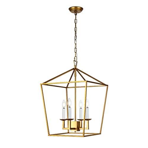 Dongyd Hanglamp gouden lantaarn kroonluchter met 4 kaarsen Loft plafondlamp voor vakantie op de boerderij keukeneiland, eetkamer, woonkamer, trappenhuis