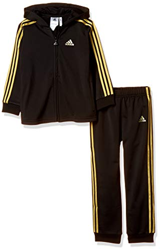 adidas Baby Shiny Full Zip Hooded Trainingsanzug, Black/Gold Metallic, 80