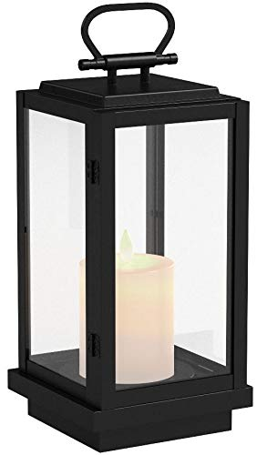 Amazon Brand – Stone & Beam Modern Decorative Outdoor Metal and Glass Lantern with LED Candle - 9 x 9 x 25 Inches, Black, For Indoor Outdoor Use