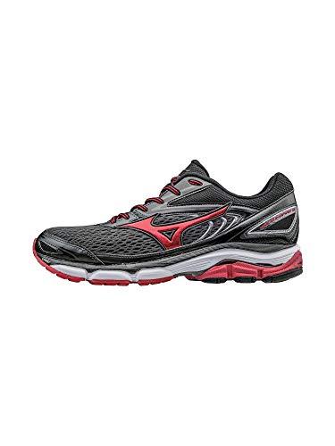 Mizuno Men's Wave Inspire 13 Running Shoe, Gunmetal/High Risk Red, 9.5 D US