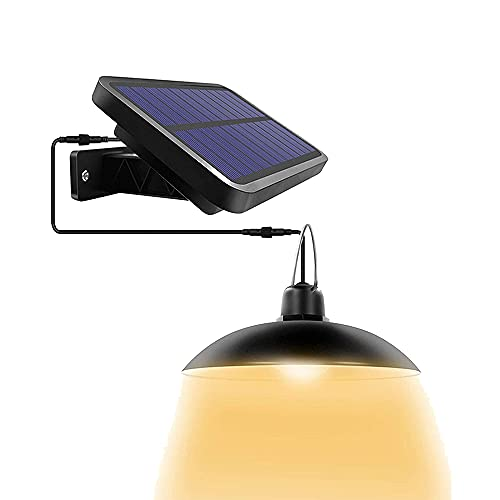 Solar Hängende LED Schuppen Licht Außen Hängend Kronleuchter Lampe Solarbetrieben IP65 Wasserdicht mit 3M Kabel für Garten Gewächshaus Hof Terrasse Garage (warmes Licht)