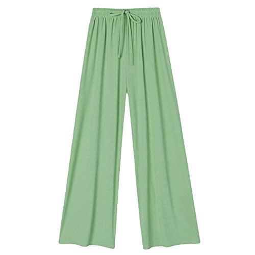 HHJY Ice Silk Wide Leg Pants Women, Spring & Summer 2021 Waist Drape Mopping Pants, Slim Yoga Pant (Green,M)