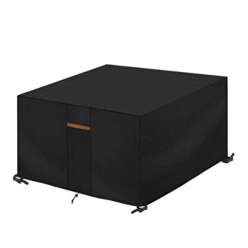 SanGlory Cube Garden Furniture Cover, Cover for Rattan Garden Furniture Cover, Cube Table Cover 600D Heavy Duty Oxford Fabric Waterproof Cover for Patio Table and Chairs (135 x 135 x 75 cm)