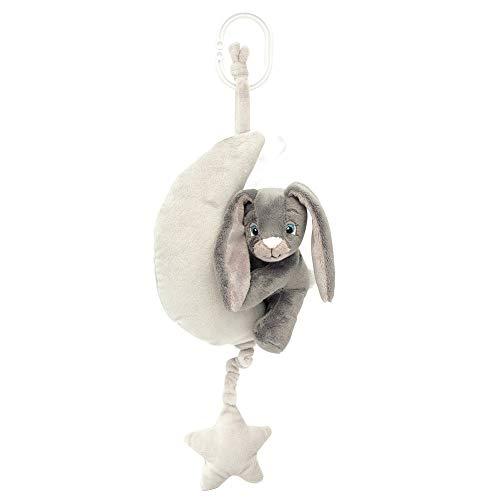 My Teddy Spieluhr Hase auf Mond grau - Spielwerk mit Melodie - Babyspieluhr Erstausstattung Neugeborene 35 cm