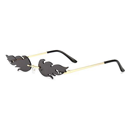Rimless Flame Sunglasses for Women Men Trendy UV400...