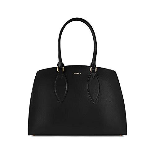 FURLA Women's Bag Doris L Tote Black Leather with Inner Pocket 38.5 x 27.5 x 14 cm