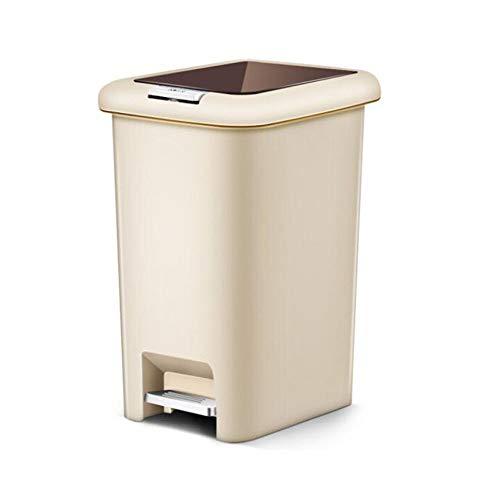 LAJIFENLEI Cubo de reciclaje doble cubierta abierta pedal/prensa de mano de plástico basura puede secar y húmedo clasificación 10 litros/material de salud cubo de papel barril