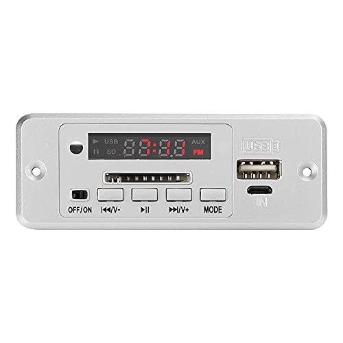 SHYEKYO MP3 Decoder Board, 5V Easy to Operate Lightweight FM Radio Board Clock Adjustment for MP3 for Radio(Silver)