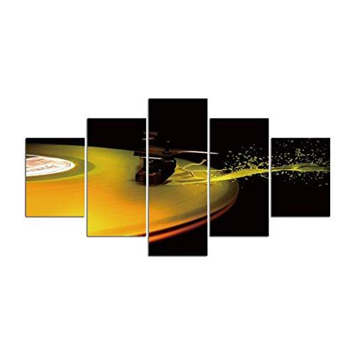 Póster Cuadros En Lienzo 5 Piezashd Impreso 5 Piezas Lienzo Arte Dj Música Reproductor De Cd Pintura Cuadros De Pared Modulares Para Sala De Estar Decoración Del Hogar4X6Inx2,4X8Inx2,4X10Inx1