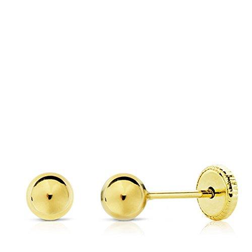 Pendientes Bebé/Niña Oro 18 ktes Amarillo Bolitas Tamaño 5 mm