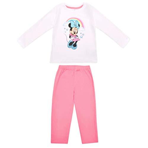 Minnie Mouse Schlafanzug Mädchen Pyjama Lang Einhorn (Rosa/Weiß, 92/98)