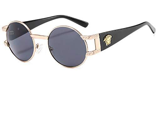 WANM Gafas de sol Gafas de sol estilo punk retro gafas con montura redonda-A