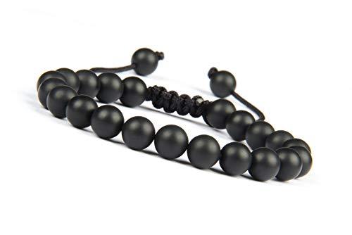 GD GOOD.designs EST. 2015 Brazalete para Hombres Shamballa, Pulsera de Perlas Trenzadas con Piedras Naturales de ónix, Tigre o Lava en Negro (Piedra de ónice)