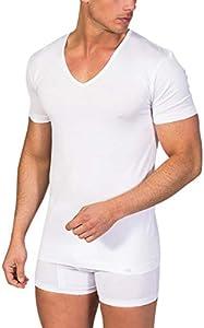 ZD ZERO DEFECTS Camiseta Interior de Hombre de Manga Corta y Cuello Pico Hilo de Escocia - Talla L