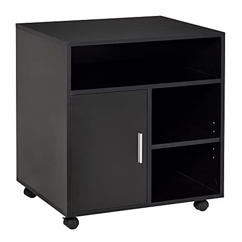 HOMCOM Multi-Storage Printer Stand Unit Office Desk Side Mobile Storage w/Wheels Modern Style 60L x...