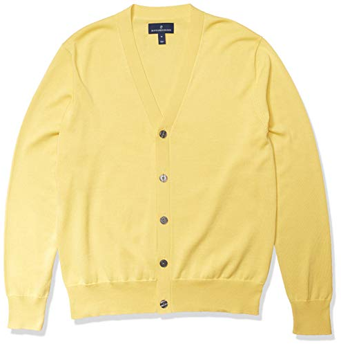 Amazon Brand - Buttoned Down Men's 100% Supima Cotton Cardigan Sweater, Yellow, X-Large