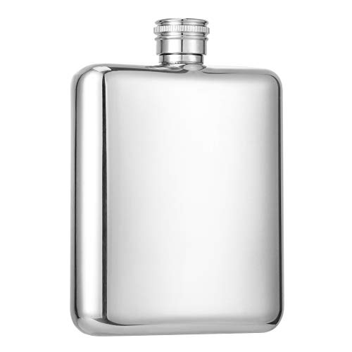 HIDORAN 6oz Shiny Hip Flask Stainless Steel Pocket Container for Drinking Thickening Hip Flasks with Funnel Curved Pocket Flask for Liquor Leak-Proof Mirror-Like Finish Silver New Hampshire