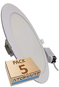 Pack 5x Panel Downlight LED Redondo Plano, 18w. Color Blanco Frio (6500K). 1600 Lumenes. Driver incluido. A++