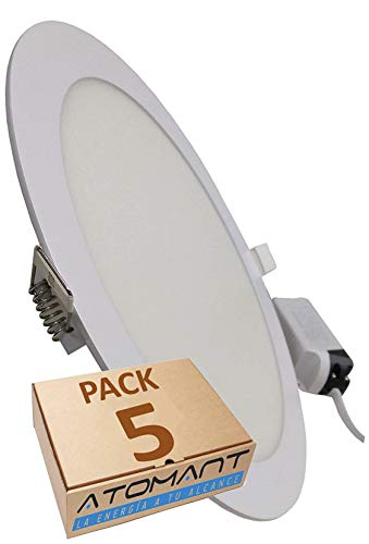 Pack 5x Panel Downlight LED Redondo Plano, 18w. Color Blanco Frio (6500K). 1600 Lumenes. Driver incluido. A++