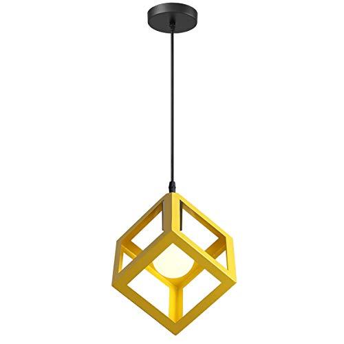 iDEGU - Lampadario a sospensione, moderno, a forma di cubo, stile geometrico, in metallo, E27, plafoniera per camera da letto, soggiorno, ristorante, 16 cm giallo