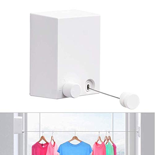 Retractable Clothesline Adjustable Heavy-Duty Clothesline for Drying Clothes Wall Mount with Screws Easy Install and Hides Away in Seconds