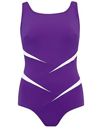 Nicola Jane dames paars badpak chloorbestendig met zakken hoge hals één stuk zwemkleding ~ maat 14 tot 26 (S207)