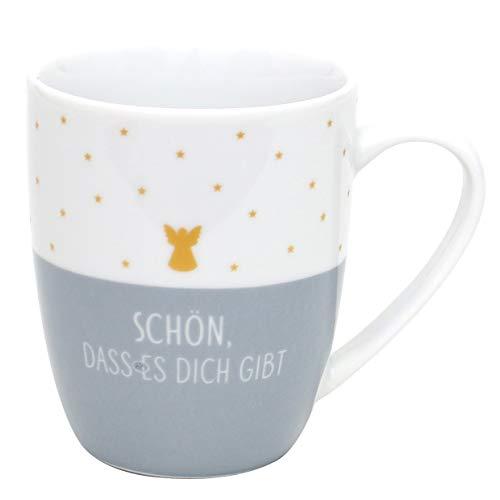 Dekohelden24 Kaffeebecher/Tasse aus Porzellan, Motiv: Schön, DASS es Dich gibt. Größe H/Ø: 9,8 x 8,2 cm, Fassungsvermögen 250 ml, Spülmaschinengeeignet.