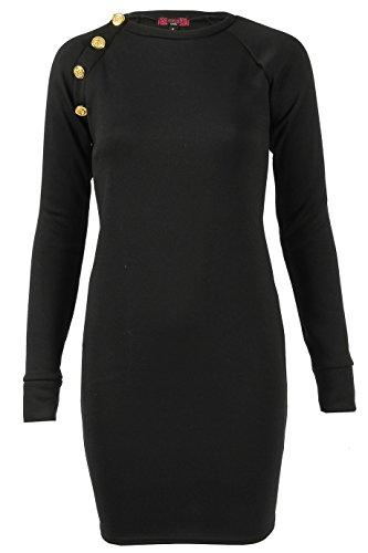 Momo&Ayat Fashions - Vestido - ajustado - para mujer Negro Negro ( S (34-36)