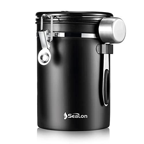 SEALON Kaffeedose Luftdicht Kaffeebehälter 1.8l - Luftdichte Kanister Edelstahl Luftdichte Kanister Küchenbehälter für Kaffeebohnen/Tee/Zucker/Keks/Mehl