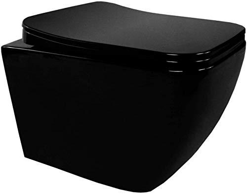 CUBE - Inodoro suspendido diseño negro con tapa de freno de caída