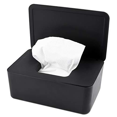 KONUNUS Feuchttücher Box, Toilettenpapier Box, Baby Tücher Fall, Feuchttücherbox Tücherbox, Tissue Toilettenpapier Spender , Serviettenbox Mit Deckel, Tissue Aufbewahrungskoffe, Kunststoff Schwarz