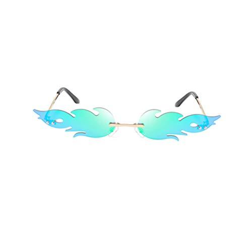 Toyvian Frauen Feuer Flamme Sonnenbrillen Randlos Welle Sommer Brillen Neuheit Brillen Narrow Sunglasses Bar Pool Summer Hawaii Strand Party Kostüme Schmuck für Männer Damen Grün
